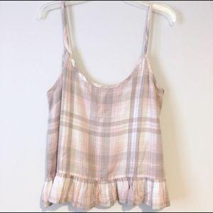 Cloth & Stone Pink Plaid Ruffle Camisole Tank NWOT